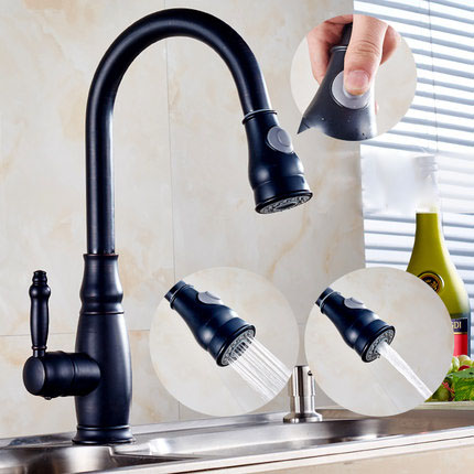 Kitchen Sink Faucet Swivel Romovable Faucet Black Panited Pull Out Water Saver Mixer Tap Modern Faucets Torneira ParedeKitchen Sink Faucet Swivel Romovable Faucet Black Panited Pull Out Water Saver Mixer Tap Modern Faucets Torneira Parede