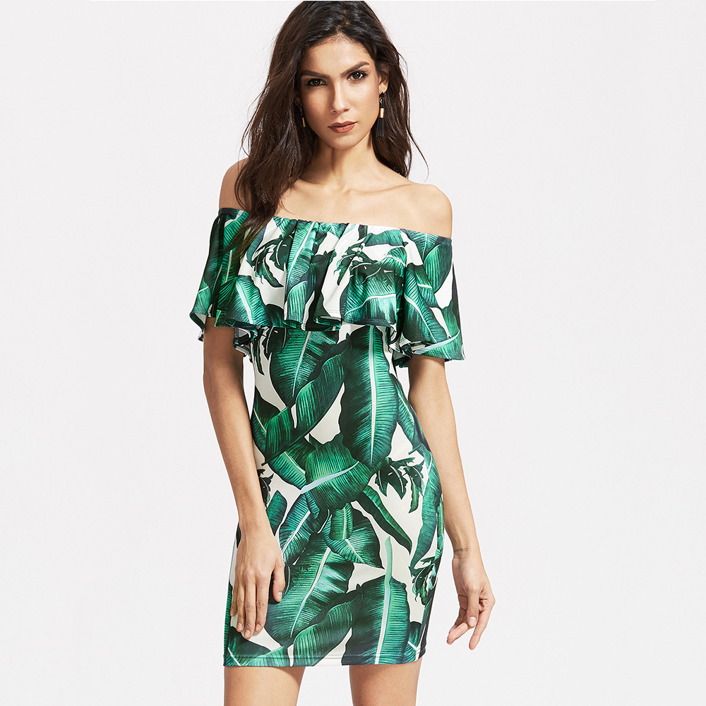 Custom Made New Fashion Womens Sexy Off Shoulder Green Leaves Printed Short Dress Vestido