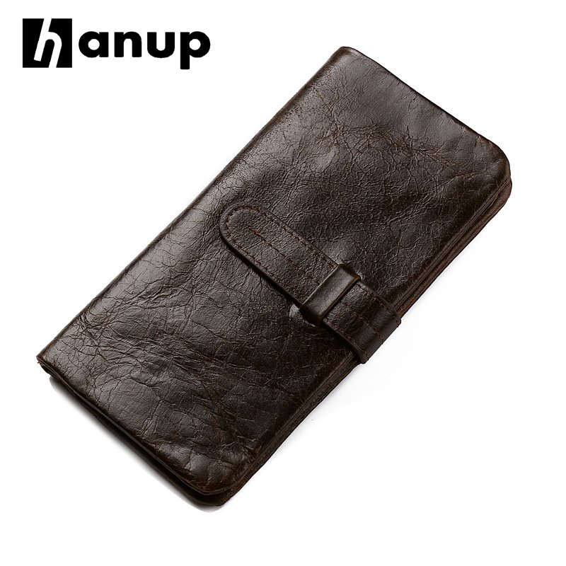 Brand High Quality 100% Genuine Oil Wax Cowhide Leather Men Long Bifold Wallet Purse Vintage Designer Male Carteira GIFT
