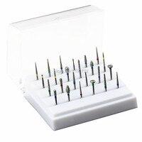 1 Zestaw 24 Sztuk Dental Diamentowe Polerowanie FG1.6 Carbide Burs Burs Polerki I 1 Sztuk Dezynfekcji Posiadacza Blok Stomatologia Wiertarki