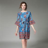 Folk Style Silk Print Shirt Dress Robe Femme Ete 2017 Vestidos Ukraine Women Summer Dress Kleider