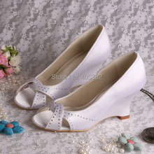 (20 Colors)Custom Handmade Toe Open Woman Shoes Bride Wedding with Wedge