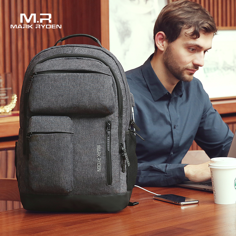 Mark Ryden Man Backpack Multi layer Space 15 6 inch Laptop USB Recharging Travel Male Bag