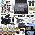 OPHIR 325Pcs/set PRO Complete Tattoo Kit 2 Tattoo Gun Machine Real Tattoo Kits12 Color Tattoo Inks 50 Needles Power Supply_TA004