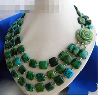 FREE SHIPPING>>>popular 3Strands 18'' 15MM Malachite Green Baroque Freshwater Pearl Necklace