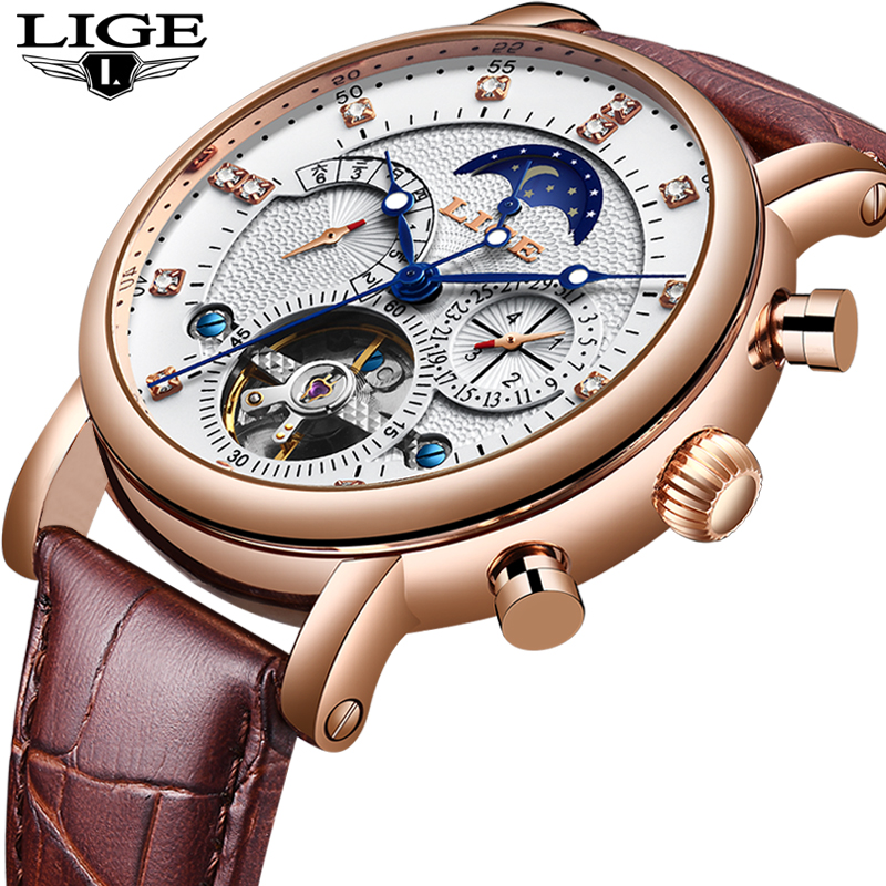 NewLIGE Tourbillon Men Watches Fashion Business Automatic Mechanical Watch Men Casual Leather Waterproof Watch Relogio Masculino