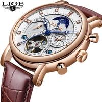 NewLIGE トゥールビヨンメンズ腕時計ファッションビジネス自動機械式時計男性カジュアル革防水時計レロジオ Masculino