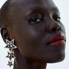 Bestessy New Star Pendants Earrings For Women Bohemia Vintage Long Statement Drop Dangle Party Jewelry Za Accessories