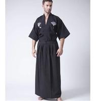 Black white Classic Japanese Samurai Clothing Men's Warrior Kimono With Obi Traditional Yukata Haori Halloween cosplay Costumes