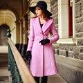 Original 2016 Brand Women's Jacket Autumn Winter Plus Size Slim Vintage Casual Long Rose Pink Wool Coat Women Wholesale