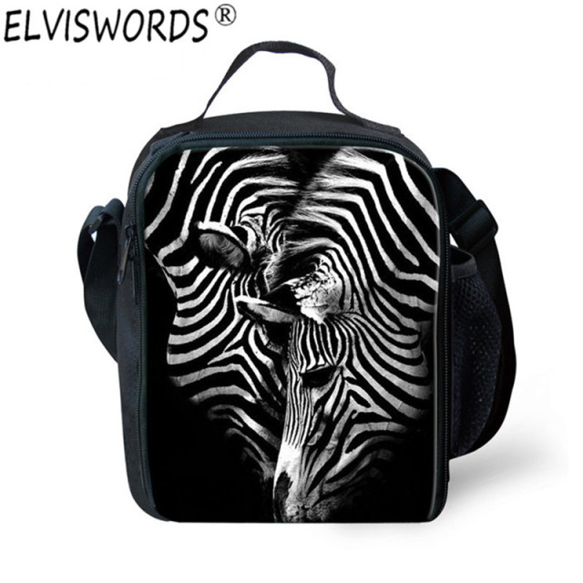 ELVISWORDS Zebra Lunchbox Animal Print Picnic Lunch Bag Insulated Storage  Container Zoo Mini Crossbody Lancheira Bolsa