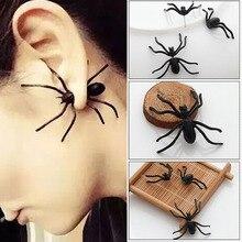 Decoración de Halloween 1 pieza 3D Creepy Black Spider Ear Stud pendientes para la decoración del hogar del Partido de Haloween