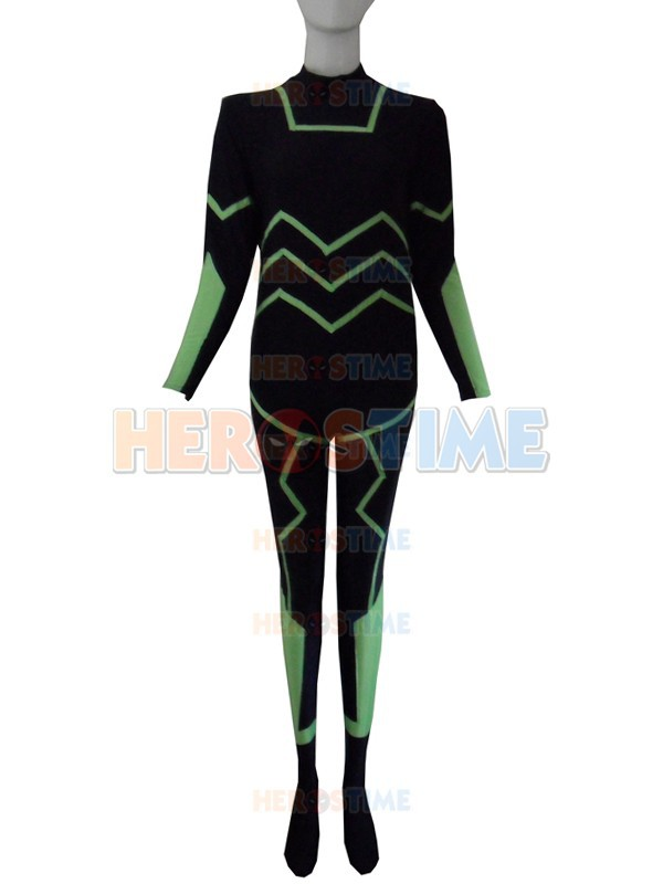 Free Shipping Black With Light Green Stripes Superhero Costume Hot Sale Halloween Cosplay Party Spandex Superhero Costume
