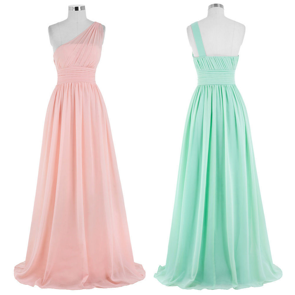 Kate Kasin Mint Green Bridesmaid Dresses Long Wedding Party Dresses One Shouler Bruidsmeisjes Jurk Pink Bridemaid Dress 0200 6
