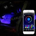4 Unids 12 V Coche LLEVÓ la Luz de Tira del RGB 5050 SMD Car Auto Decorativos Tira Flexible DEL LED de Control remoto Android iOS Teléfono APP Control