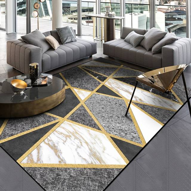 US $9.68 37% OFF|Nordic Style Geometric Gold Grey Carpet Large Size Living  Room Bedroom Tea Table Rugs and Carpets Rectangular Antiskid Floor Mat-in  ...
