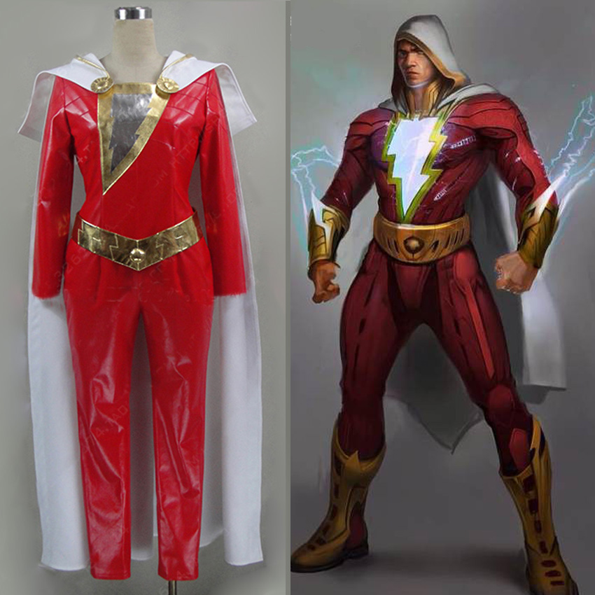 High Quality Shazam Costume Superhero Billy Batson Costume Adult Men Halloween Cosplay Costume