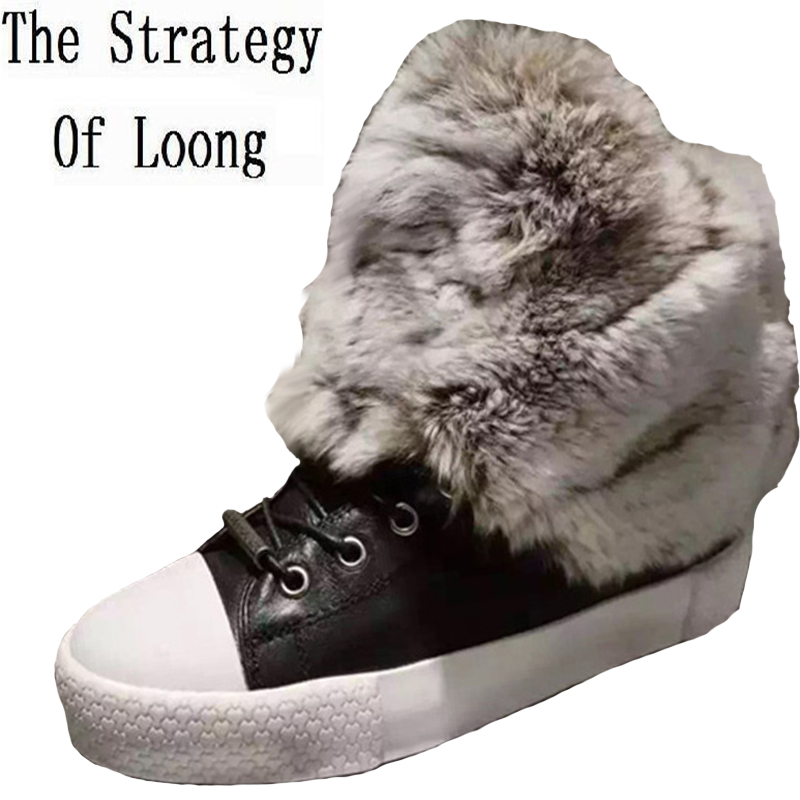 Women Genuine Leather Rabbits Fur Thick Warm Snow Boots Lace Up Casual Round Toe Short Flat Anti Wool Boots 1611 front lace up casual ankle boots autumn vintage brown new booties flat genuine leather suede shoes round toe fall female fashion