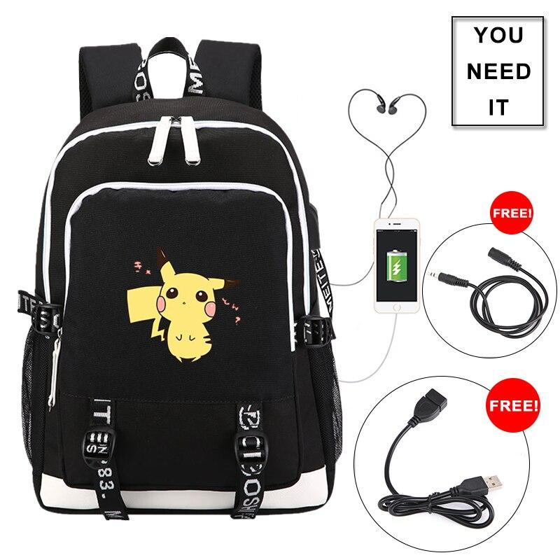 2018 poche monstre Pokmon Pikachu Charmander impression sac à dos USB charge sac à dos pour ordinateur portable Oxford école sacs voyage sac à dos