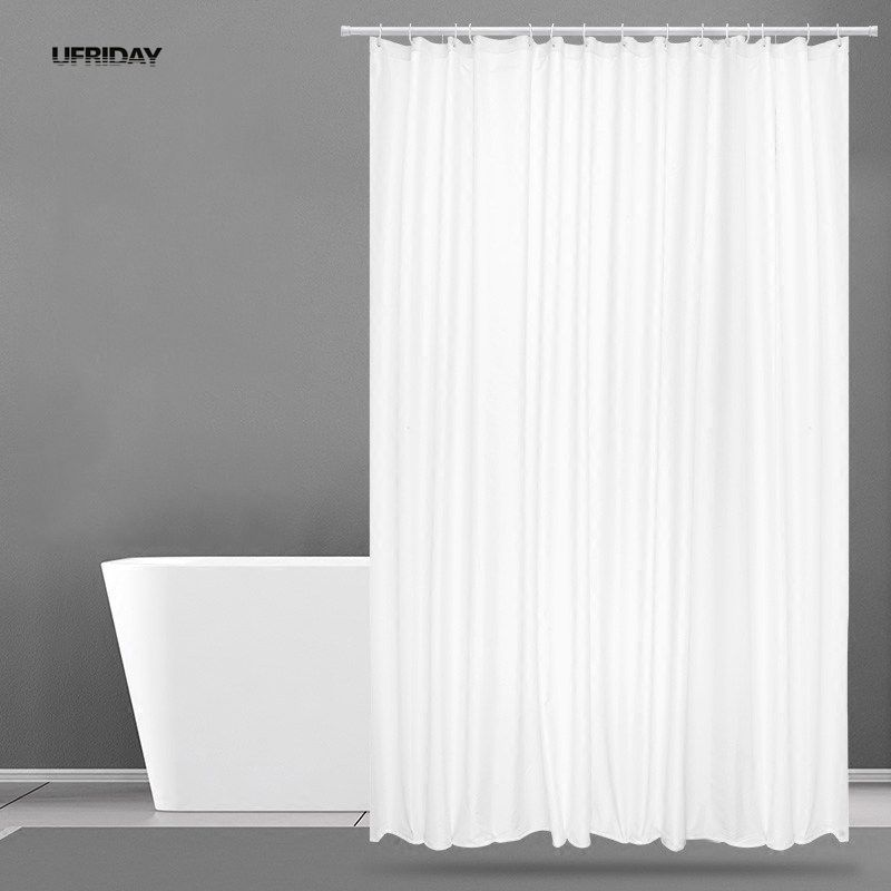 UFRIDAY New White Shower Curtain Fabric Polyester Hotel Gardin til badeværelsetæget Vandtæt Mildew Thicken Shower Curtains