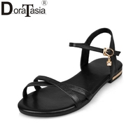 RIBETRINI New Arrivals Big Size 32 43 Rome Style Genuine Leather Women Sandals Leisure Beach Shoes