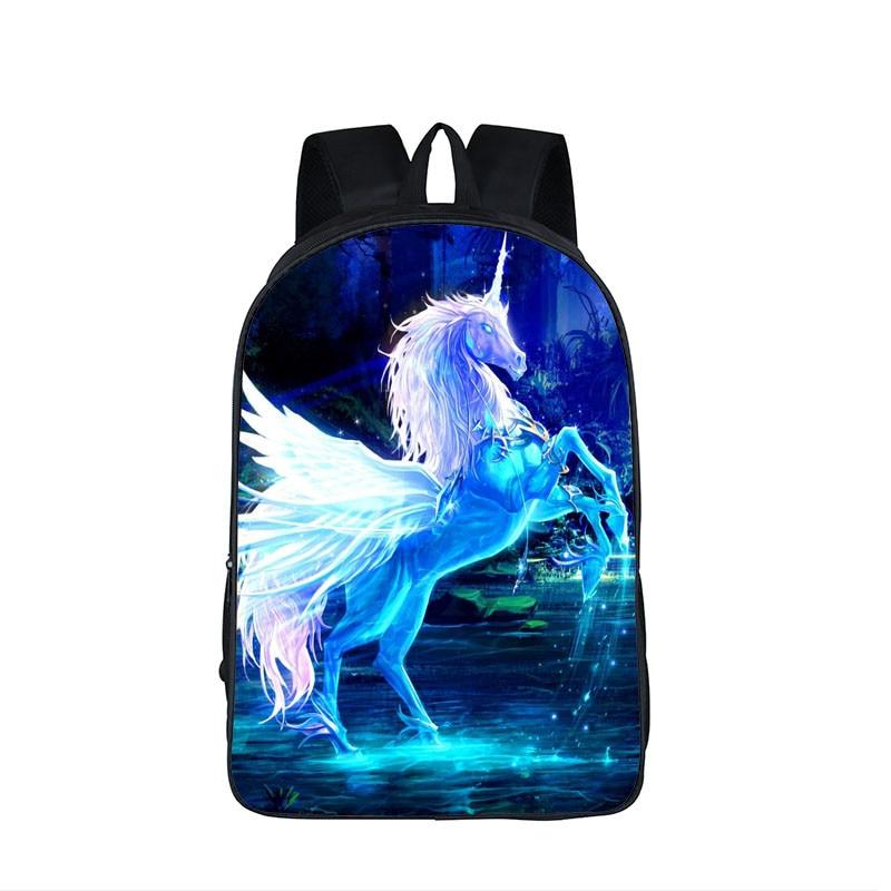 3D Fantastic Animal Prints Horse Unicorn Backpacks for Teenagers Boys Girls Kids Backpack School Bags Children Mochila Escolar