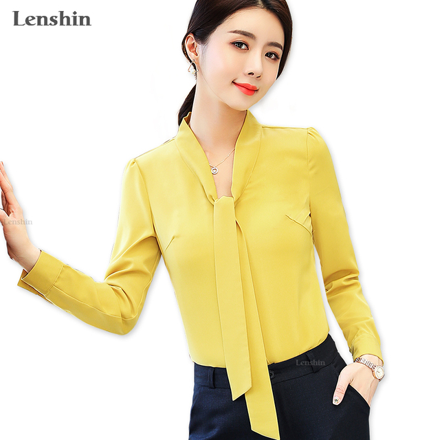 7deaa7d3888601 Lenshin Yellow Bow Shirt Soft Candy Color Blouse with Tie Women Female Wear  Office Lady Style