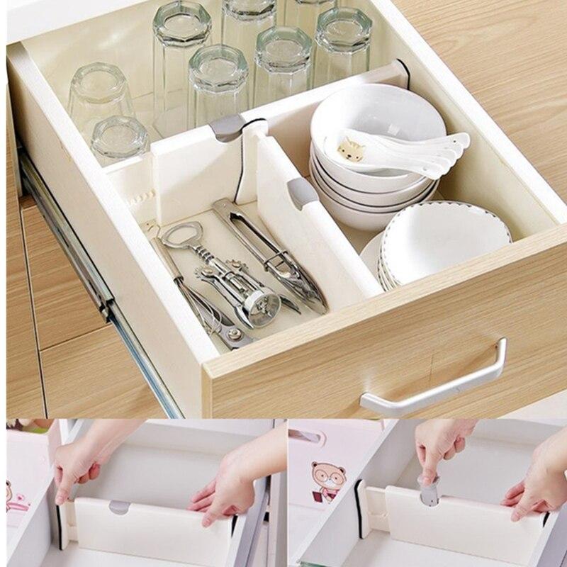 Drawer Divider Adjustable Stretch Plastic Drawer Divider Organizer Storage Partition Board For Socks Bra Multi-use For Kitchen drawer