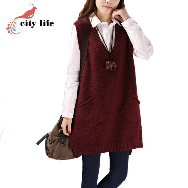 2017 Spring Autumn Vests Waistcoat Sleeveless v-Neck Long Knitted Female Clothing Leisure Sweater Vests One-Size Colete Feminino