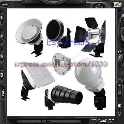 6in1 Flash Speedlite Accessories Kit Adapter Softbox Diffusor for Nikon SB-27 SB-28 Yongnuo YN465 YN467 YN468 II PF009 все цены