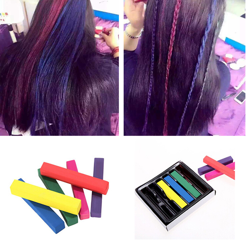 Hot Sale 6 pieces/set Hair Chalks Multi-color Temporary Party Special Makeup Hair Color Hair Chalk Disposable Hair Extension Dye