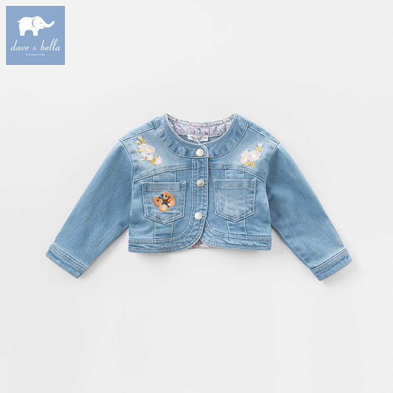DBZ6972 dave bella spring baby girls denim jacket kids infant denim coat children toddler high quality clothes купить в Москве 2019