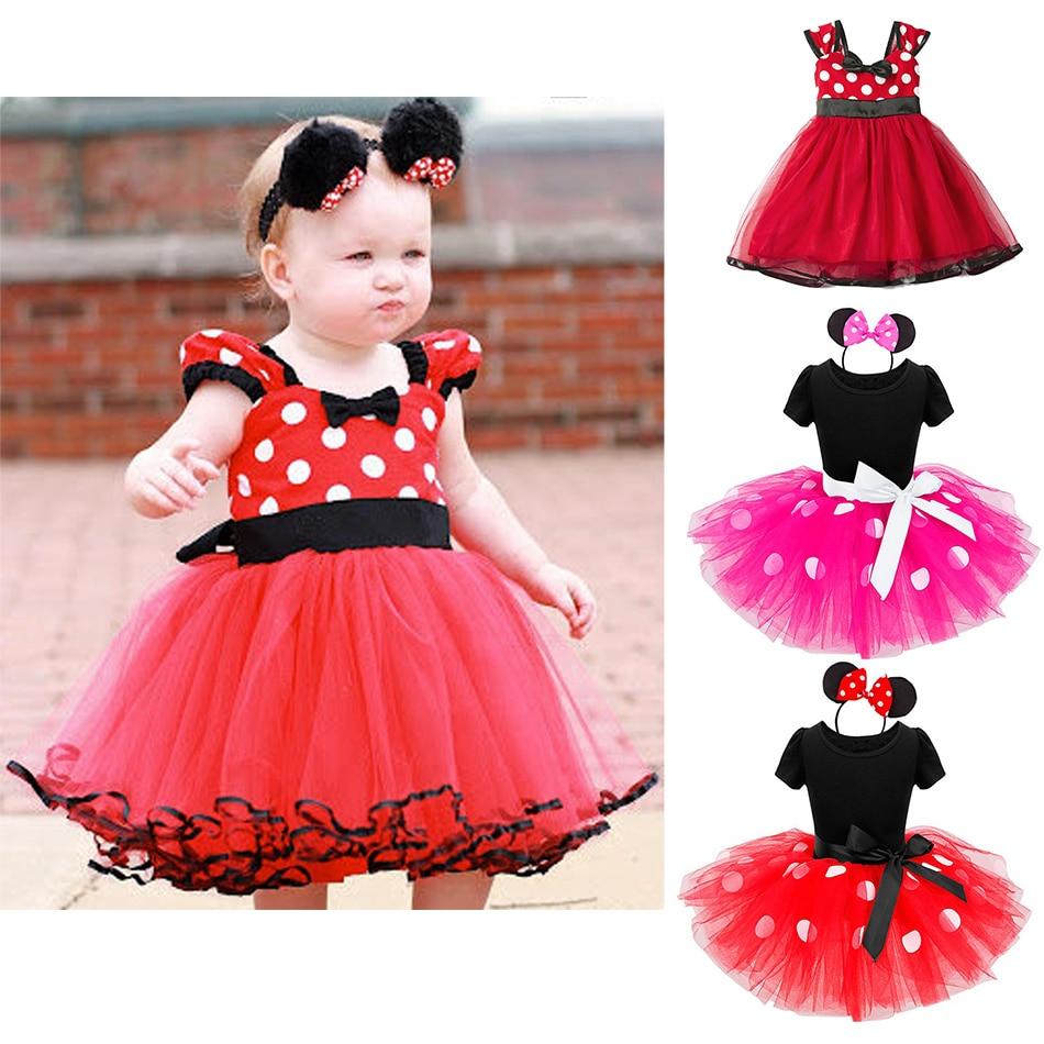 Платье для маленьких девочек с Минни Микки, детский мультяшный Маус, костюм для малышей, детская праздвечерние чная балетная одежда на день ...