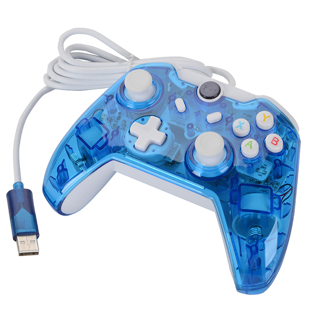 Wired Double Vibration Transparent Flash Light Game Gamepads For ...