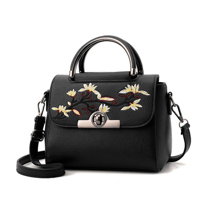 New Women leather Bag Printing Hasp Shoulder Bags Vintage Floral Soft Crossbody Female Messenger Bag sac a main n a hasp