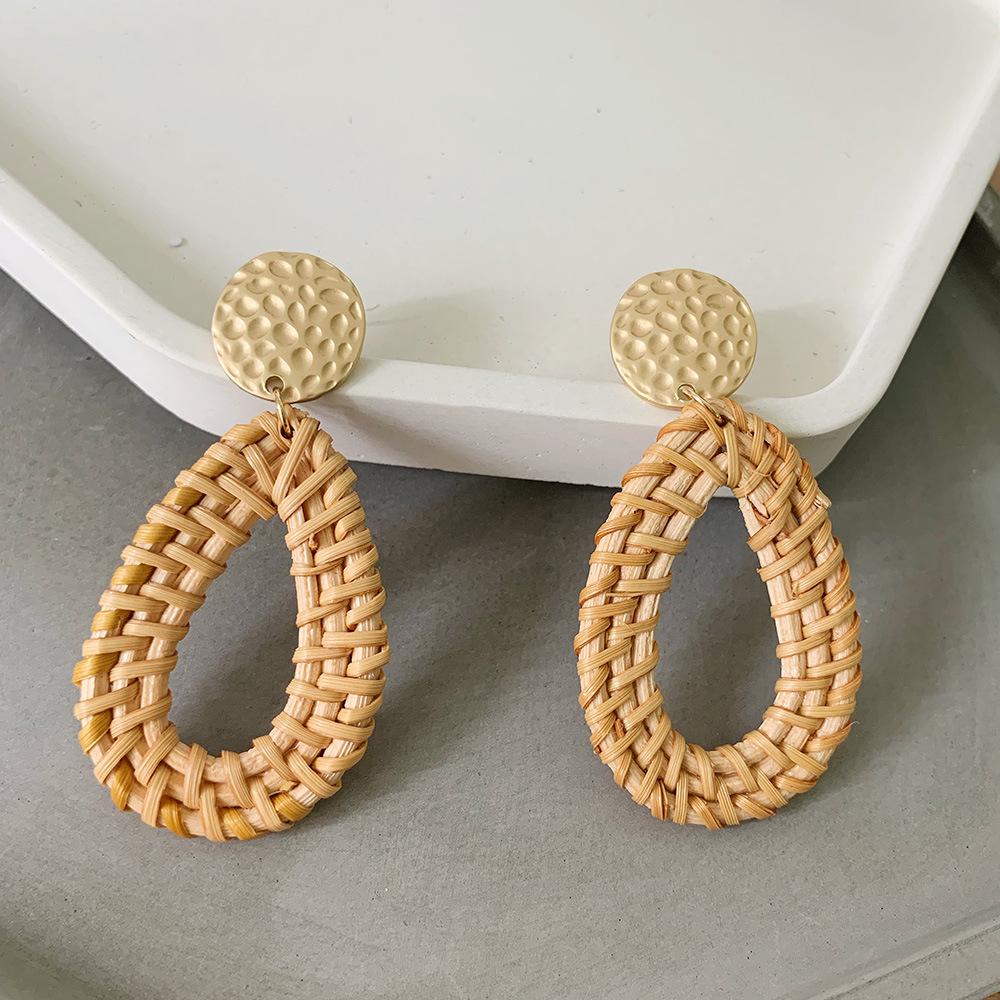 Bohemian Wicker Rattan Knit Pendant Earrings Handmade Wood Vine Weave Geometry Round Statement Long Earrings for Women Jewelry 7