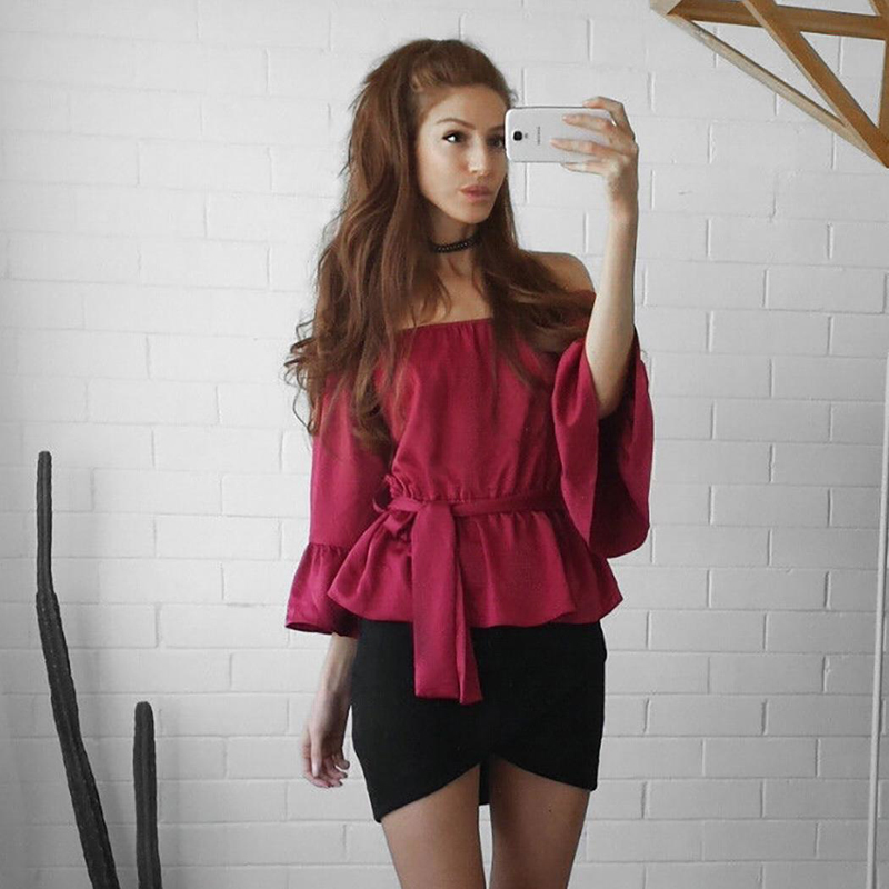 Summer Sexy Women Casual Off Shoulder Chiffon Flare Sleeve Top Blouse Shirt with Belt