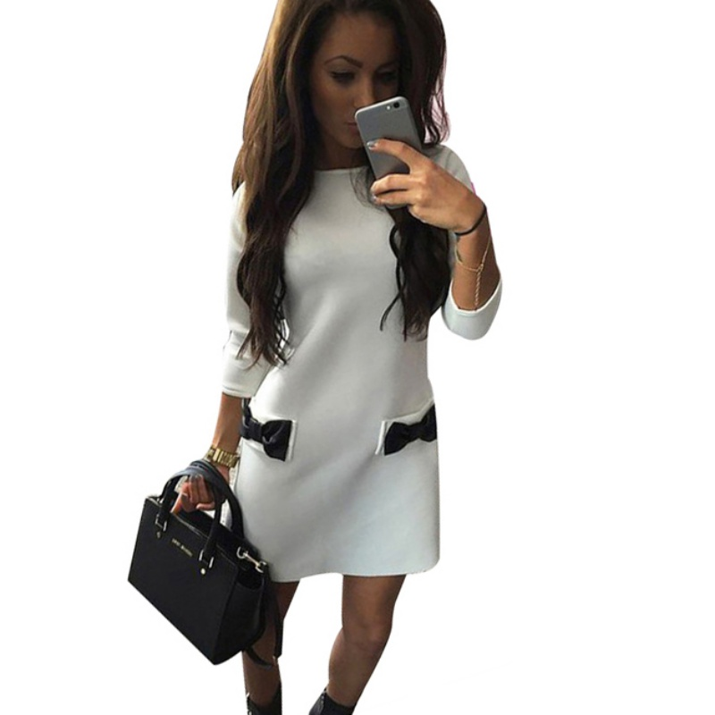 Women Bow Mini Dresses 2017 New Arrival Winter Spring Straight Casual Dress Three Quarter Sleeves Solid Dress