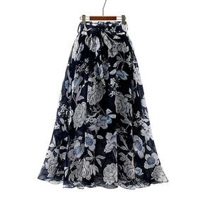 Image 3 - 2020 Streetwear Frauen Sommer Rock Elastische Hohe Taille Jupe Femme 4XL 5XL Plus Größe Röcke Midi Rosa Schwarz Bogen Druck floral Rock