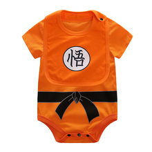 YiErYing 2Pcs Baby Clothing Baby Bibs+Bodysuit 100 Cotton Dragon Ball Short Sleeve SUN GOKU Baby Jumpsuits Baby Boy Girl Clothes 2018 real 100% cotton baby clothing three piece normal boy girl clothessize bodysuit