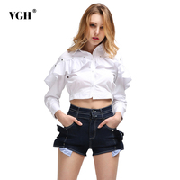 VGH Rivet Ruffles Women S Fashion Blouses 2018 Long Sleeve Turn Down Collar Short Feminine Blouse
