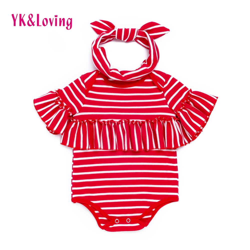 Girls Newborn Bodysuit Batwing Sleeve Cotton Stripe Baby Ruffle Clothes Infant Christmas Halloween Jumpsuits Toddler Costumes