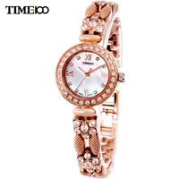 New Arrival Time100 Luxury Rose Golden Diamond Bracelet Pearl Shell Dial Steel Band Ladies Watch W50024L