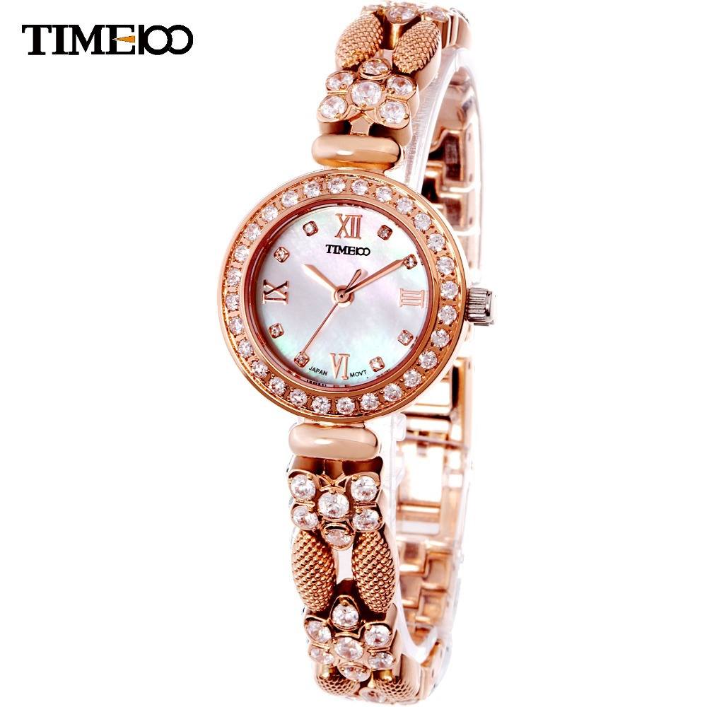 TIME100 Vintage Women's Bracelet Watch Diamond Shell Dial Copper Plated Strap Ladies Quartz Watches For Women relogio feminino