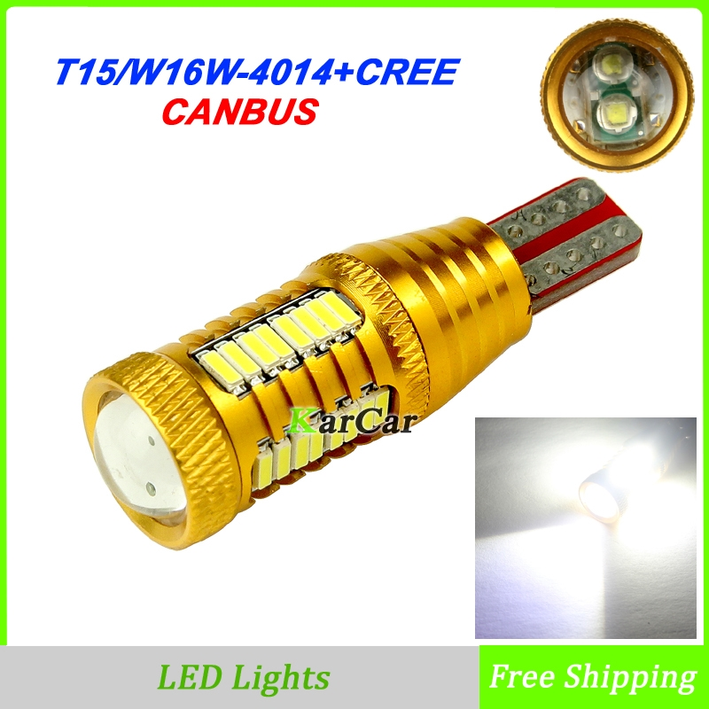 2x New Canbus Free Error T15 LED Reverse Light W16W Canbus Clearance Lamp 906 921 Tail Light 912 Stop bulb 4014 32SMD CREE chip 2 x error free super bright white led bulbs for backup reverse light 921 912 t15 w16w for peugeot 408