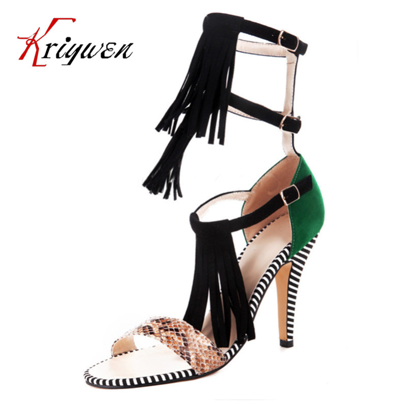 Big size 34-43 Fashion Sexy Women Sandals Open Toe flock Summer Shoes tassel thin high heels shoes party lady woman sandals  cellular line spultragtaba97 transparent