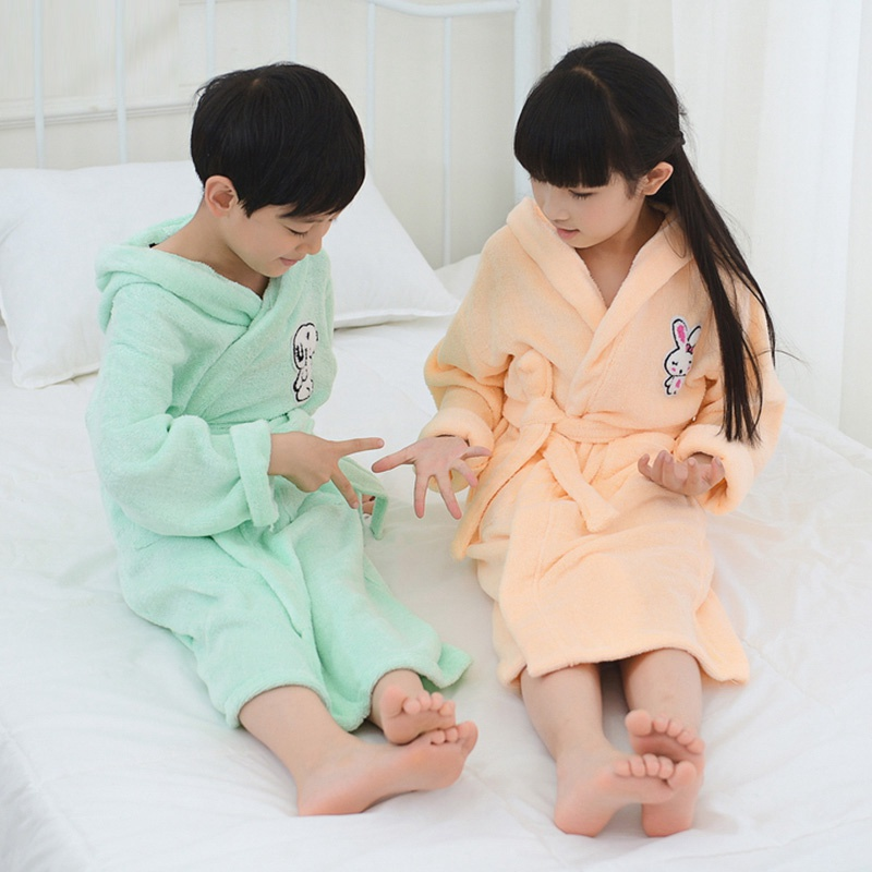 Bamboo fiber children bathrobe kds towel material cartoon cap boys and girls bathing bath spa bathrobes