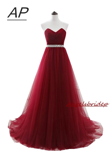 ANGELSBRIDEP Vestido Longo Evening Dresses 2019 Fashion V Neck Beading Crystal Waist Tulle Vestido De Festa