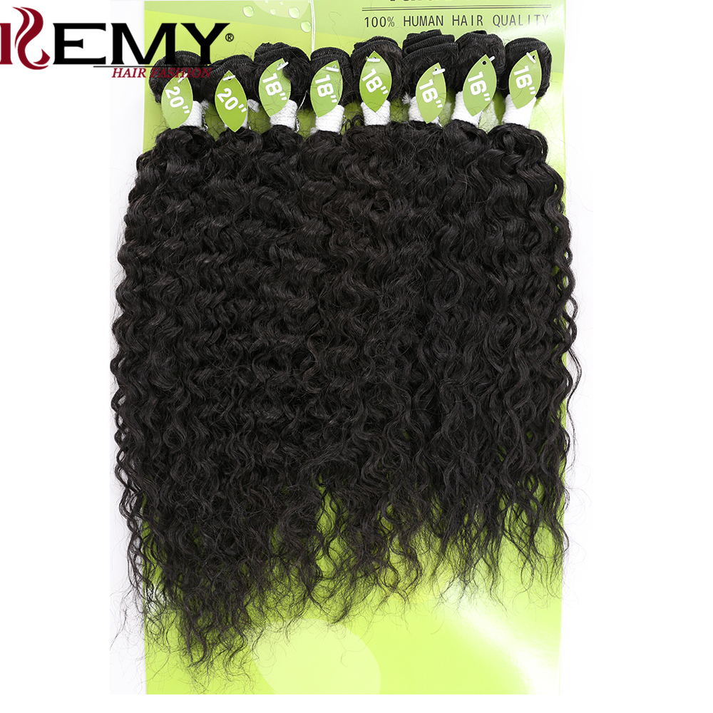 KEMY HAIR 16-20 Kinky Curly Synthetic Hair Weaves Kanekalon High Temperature Fiber Mixed Human Hair Extensions 8pcs/pack
