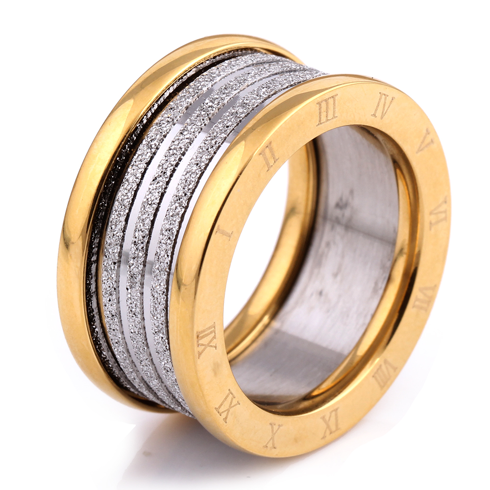 Two Color Vintage Antique Retro Stainless steel Rings For